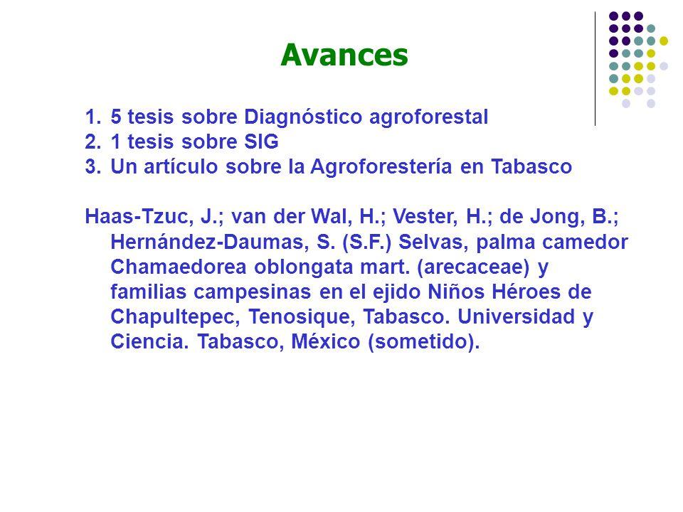 Avances 5 tesis sobre Diagnóstico agroforestal 1 tesis sobre SIG