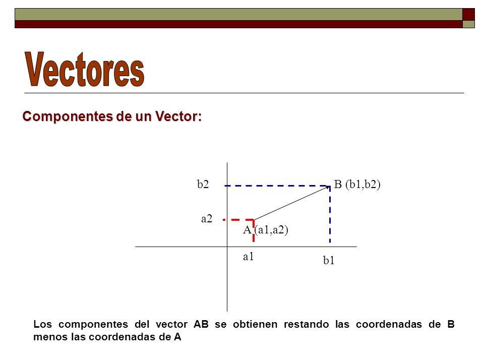 Vectores Componentes de un Vector: b2 B (b1,b2) a2 A (a1,a2) a1 b1