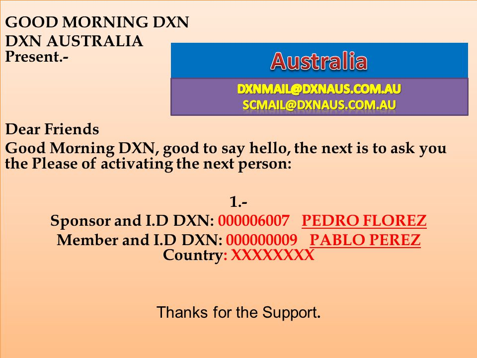 Australia GOOD MORNING DXN DXN AUSTRALIA Present.- Dear Friends