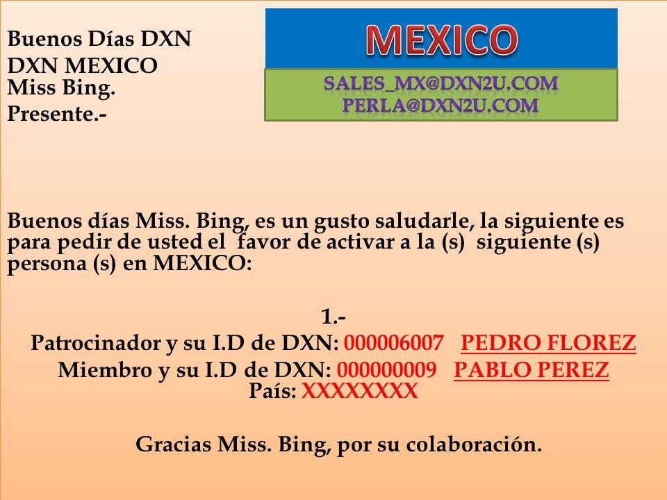 MEXICO Buenos Días DXN DXN MEXICO Miss Bing. Presente.-