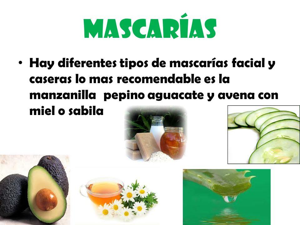 Mascarías Hay diferentes tipos de mascarías facial y caseras lo mas recomendable es la manzanilla pepino aguacate y avena con miel o sabila.