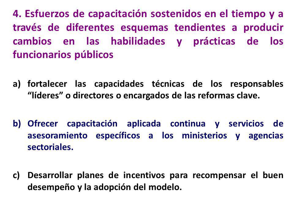 4. Esfuerzos de capacitación sostenidos en el tiempo y a través de diferentes esquemas tendientes a producir cambios en las habilidades y prácticas de los funcionarios públicos