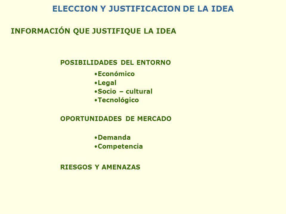 ELECCION Y JUSTIFICACION DE LA IDEA