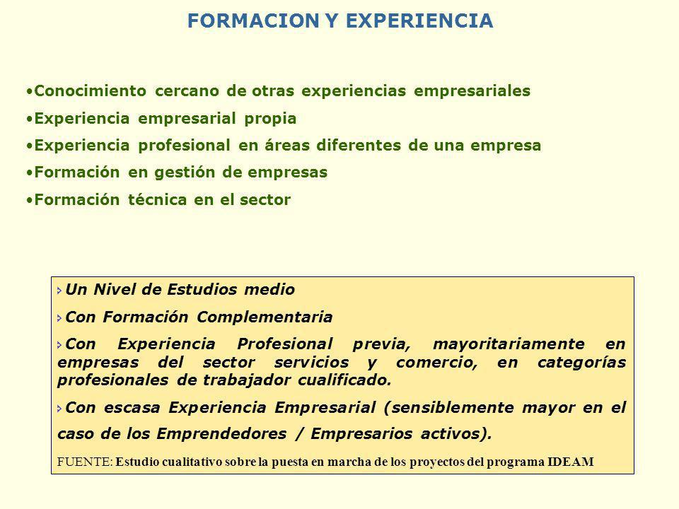 FORMACION Y EXPERIENCIA