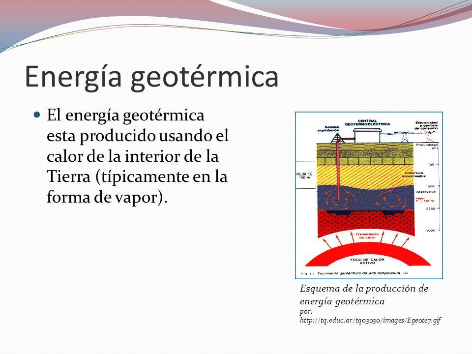Energía geotérmica El energía geotérmica esta producido usando el calor de la interior de la Tierra (típicamente en la forma de vapor).