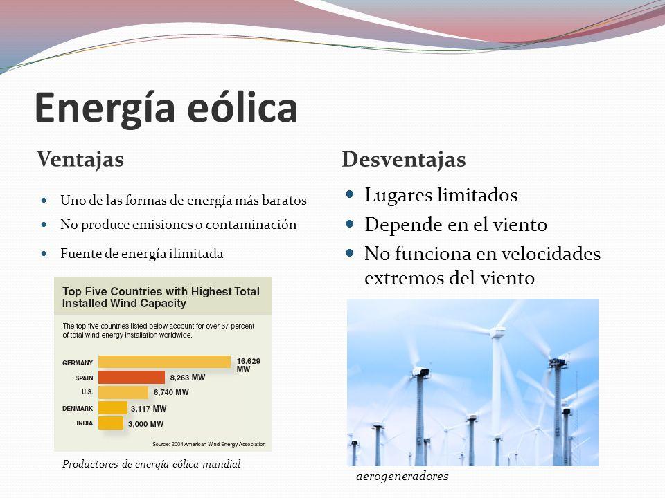 Energía eólica Ventajas Desventajas Lugares limitados