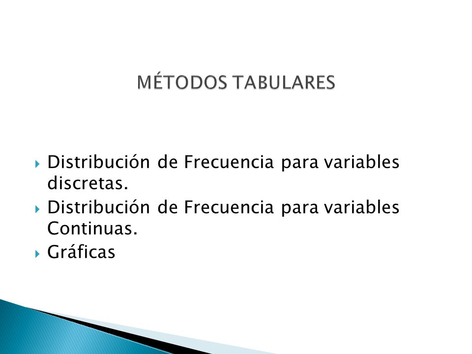 MÉTODOS TABULARES Distribución de Frecuencia para variables discretas.