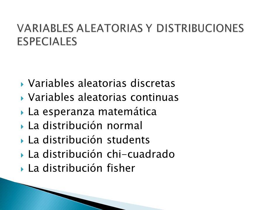 VARIABLES ALEATORIAS Y DISTRIBUCIONES ESPECIALES