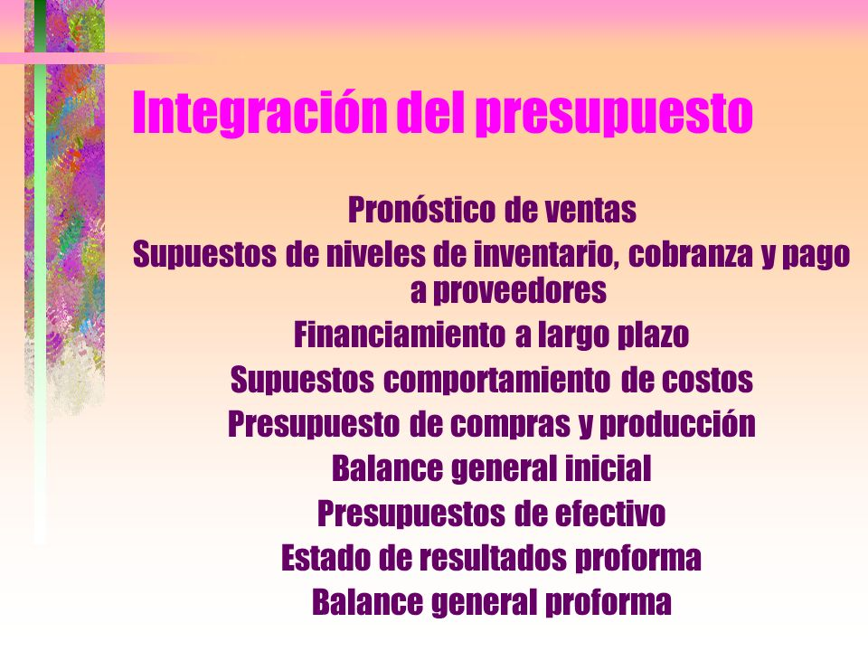 Integración del presupuesto