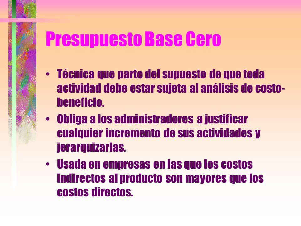 Presupuesto Base Cero Técnica que parte del supuesto de que toda actividad debe estar sujeta al análisis de costo-beneficio.