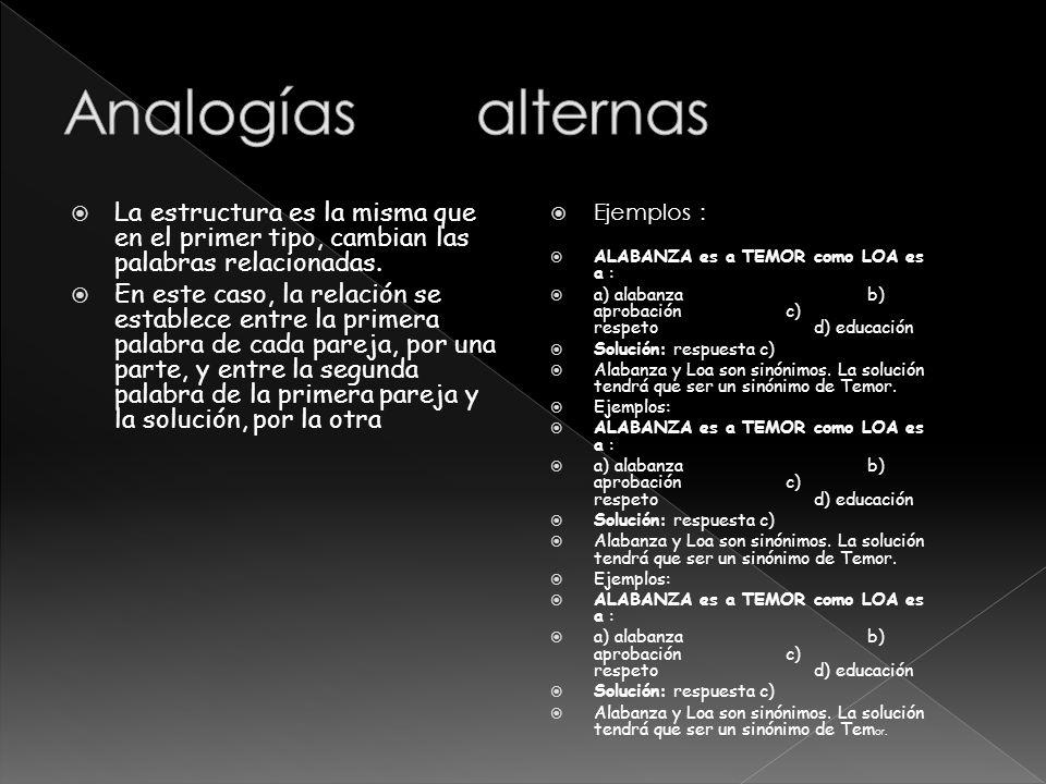 Analogías alternas La estructura es la misma que en el primer tipo, cambian las palabras relacionadas.