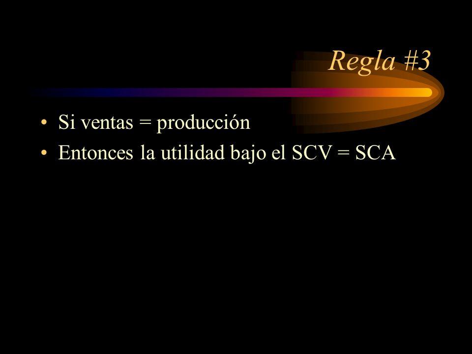 Regla #3 Si ventas = producción Entonces la utilidad bajo el SCV = SCA