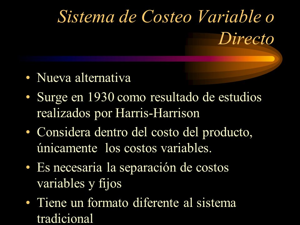 Sistema de Costeo Variable o Directo