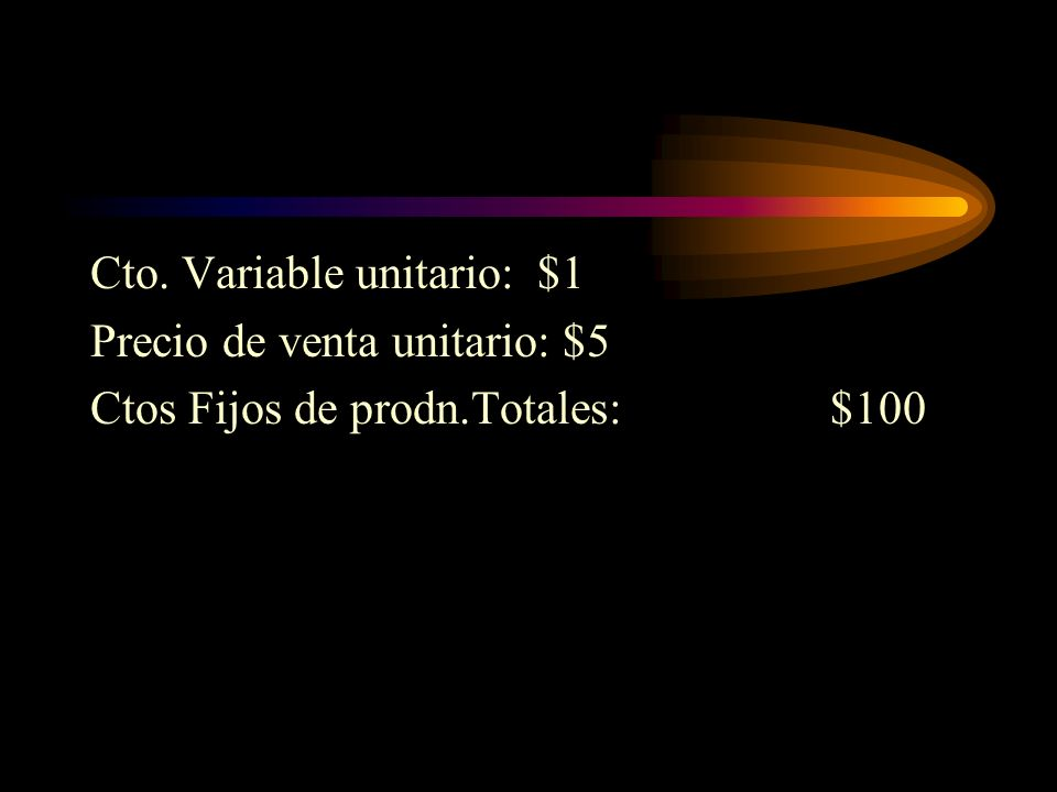 Cto. Variable unitario: $1