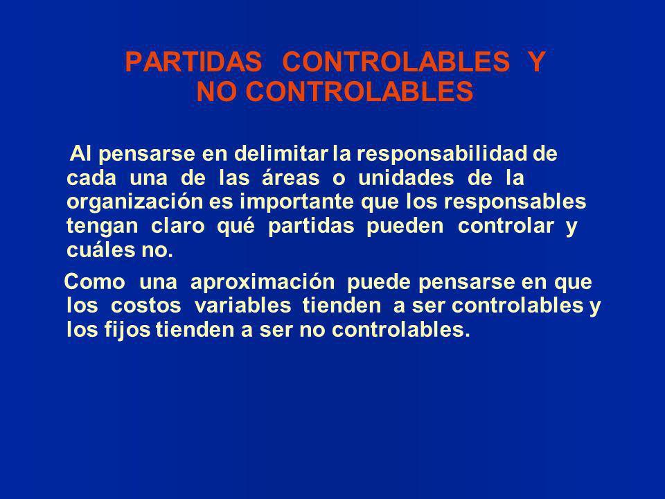 PARTIDAS CONTROLABLES Y NO CONTROLABLES