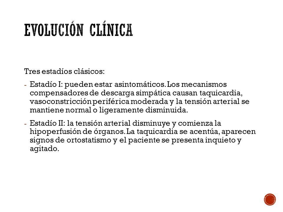 Evolución clínica Tres estadíos clásicos: