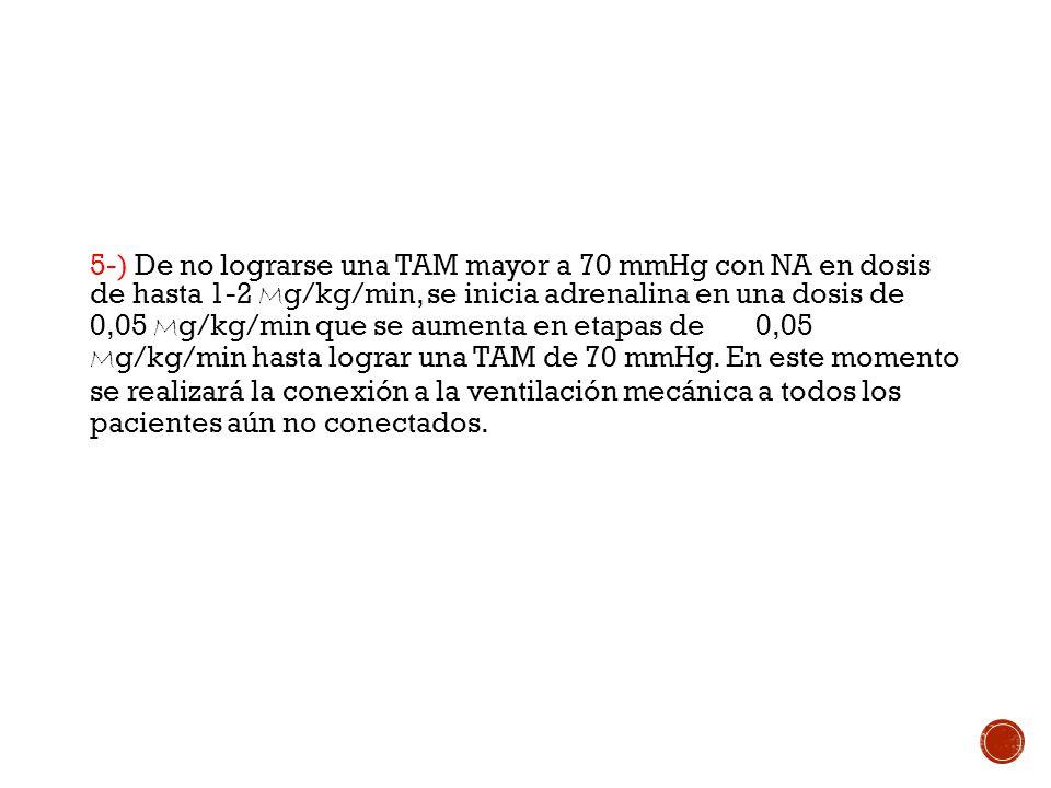 5-) De no lograrse una TAM mayor a 70 mmHg con NA en dosis de hasta 1-2 Mg/kg/min, se inicia adrenalina en una dosis de 0,05 Mg/kg/min que se aumenta en etapas de 0,05 Mg/kg/min hasta lograr una TAM de 70 mmHg.