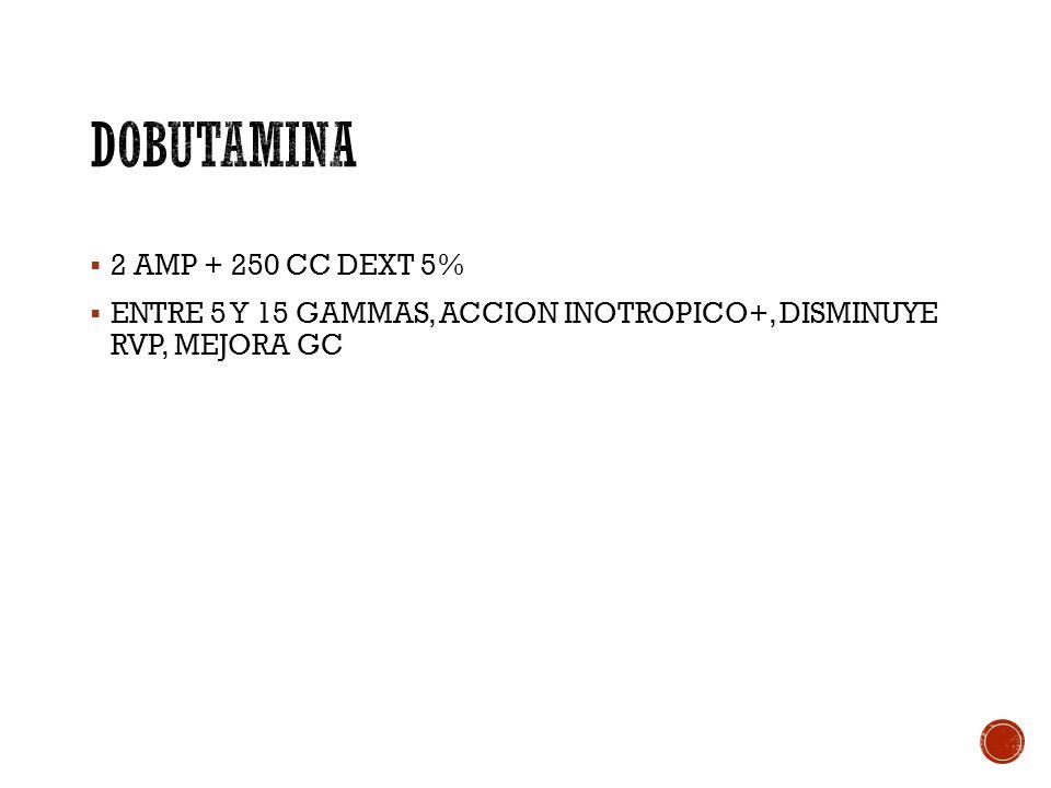 DOBUTAMINA 2 AMP + 250 CC DEXT 5%