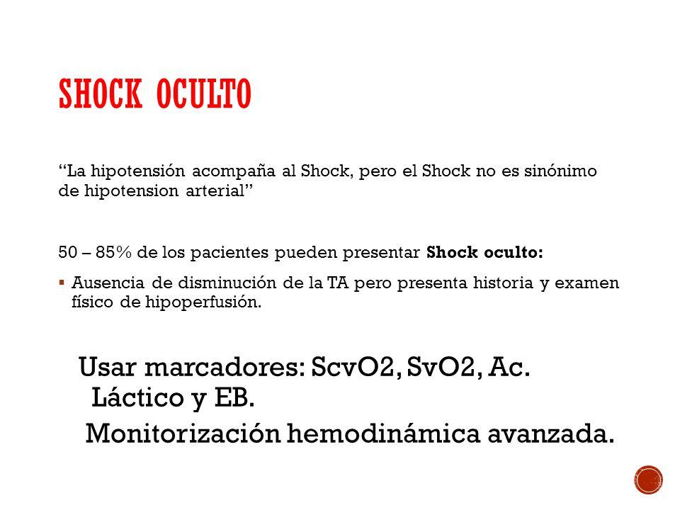 Shock oculto Usar marcadores: ScvO2, SvO2, Ac. Láctico y EB.