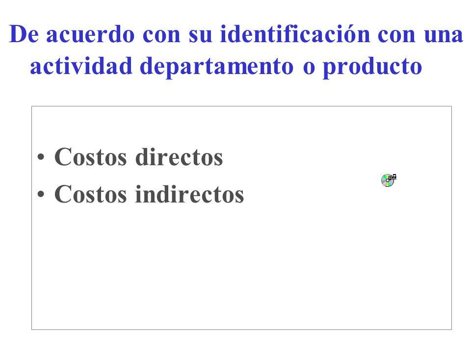 De acuerdo con su identificación con una actividad departamento o producto