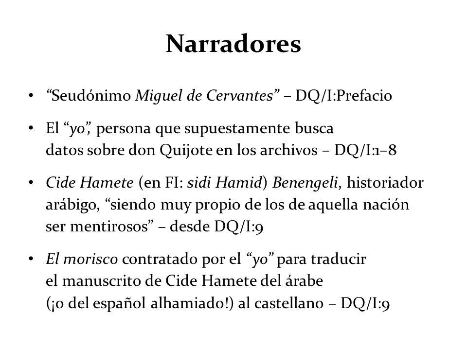 Narradores Seudónimo Miguel de Cervantes – DQ/I:Prefacio