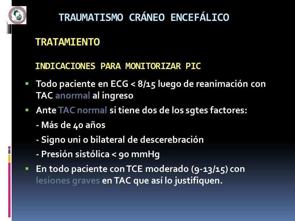 TRAUMATISMO CRÁNEO ENCEFÁLICO TRATAMIENTO INDICACIONES PARA MONITORIZAR PIC