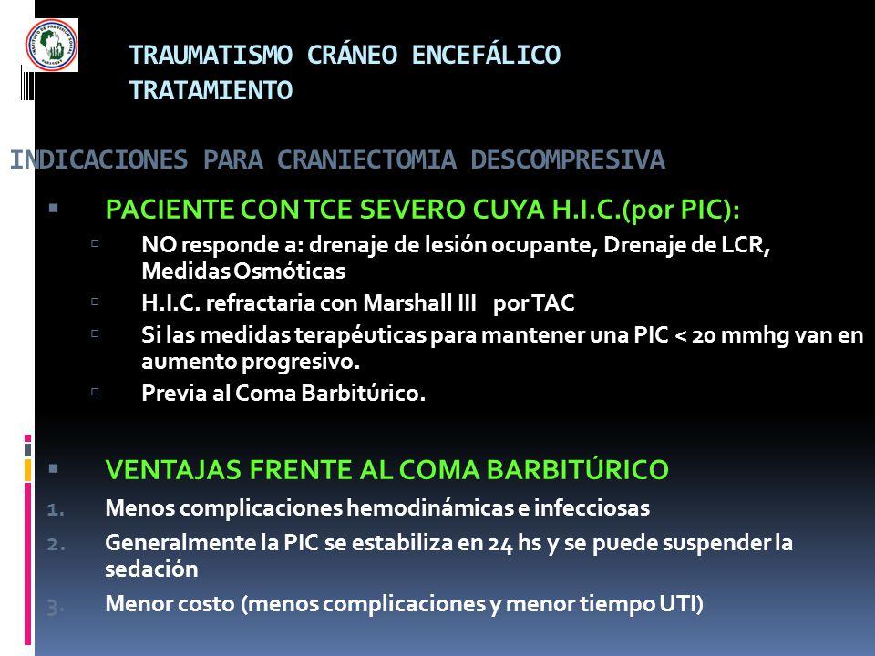 PACIENTE CON TCE SEVERO CUYA H.I.C.(por PIC):