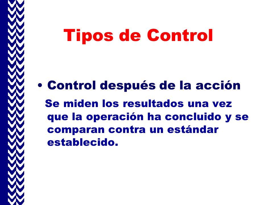 Tipos de Control Control después de la acción