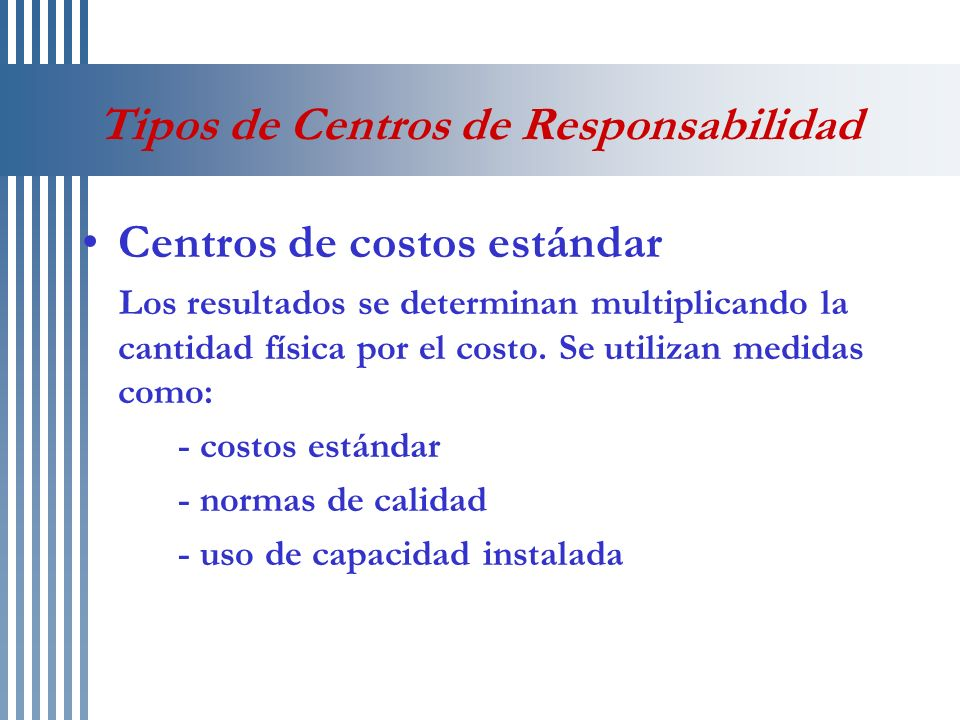 Tipos de Centros de Responsabilidad