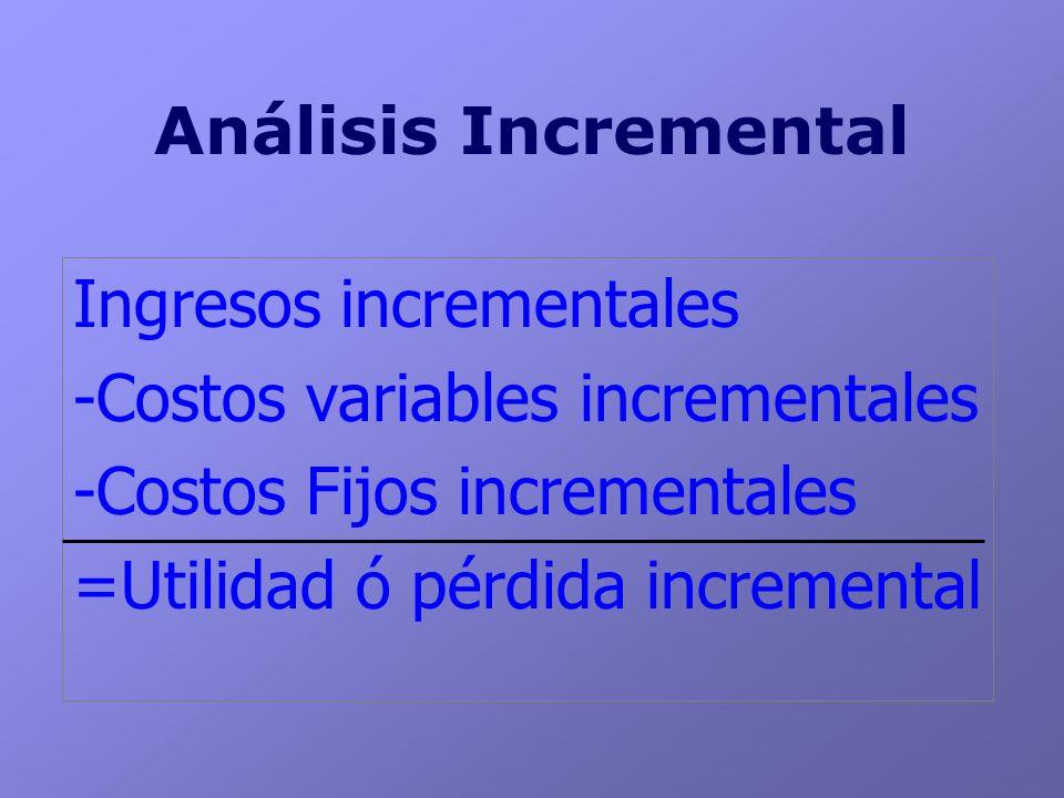 Análisis Incremental Ingresos incrementales. -Costos variables incrementales. -Costos Fijos incrementales.