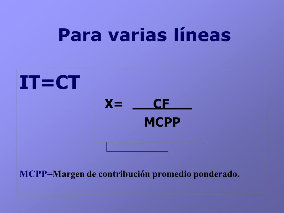 IT=CT Para varias líneas X= CF MCPP