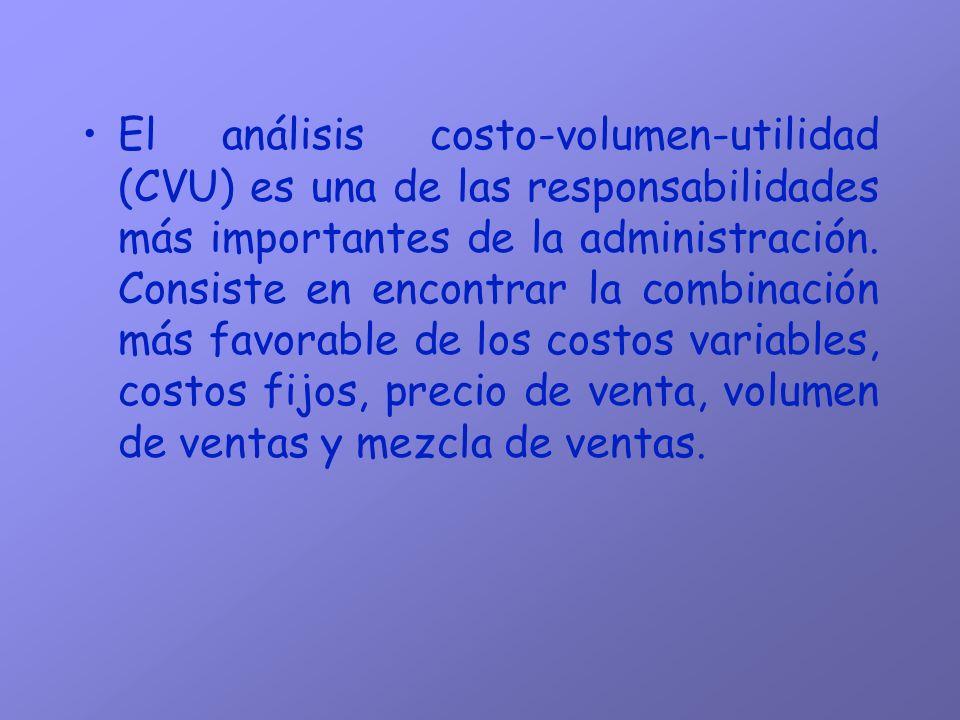 El análisis costo-volumen-utilidad (CVU) es una de las responsabilidades más importantes de la administración.