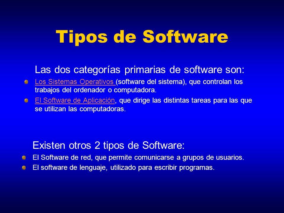 Tipos de Software Las dos categorías primarias de software son: