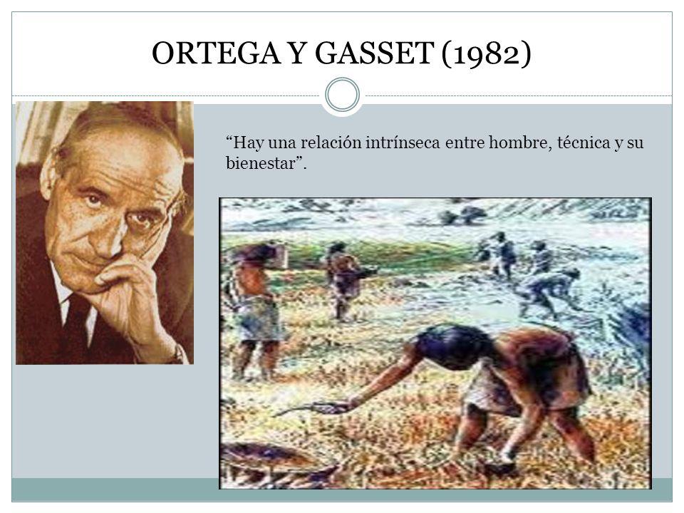 ORTEGA Y GASSET (1982) Hay una relación intrínseca entre hombre, técnica y su bienestar .