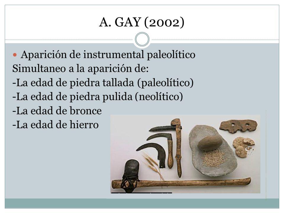 A. GAY (2002) Aparición de instrumental paleolítico