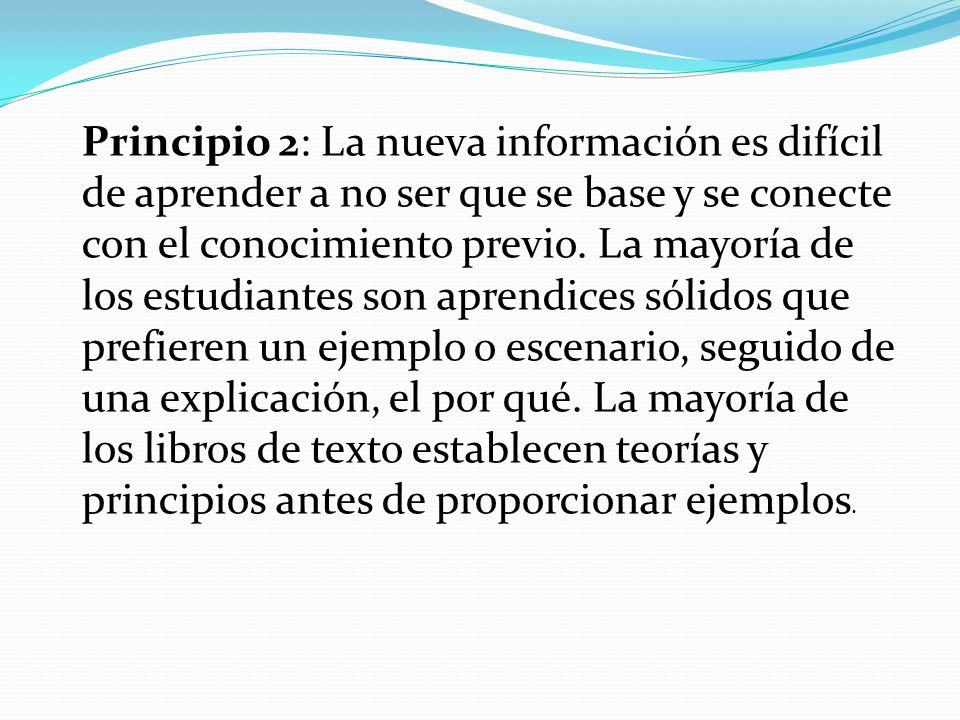 Principio 2: La nueva información es difícil de aprender a no ser que se base y se conecte con el conocimiento previo.