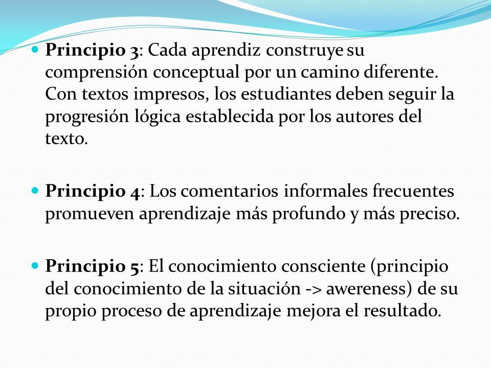 Principio 3: Cada aprendiz construye su comprensión conceptual por un camino diferente. Con textos impresos, los estudiantes deben seguir la progresión lógica establecida por los autores del texto.