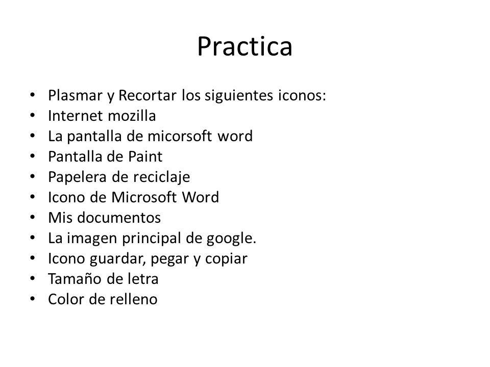 Practica Plasmar y Recortar los siguientes iconos: Internet mozilla