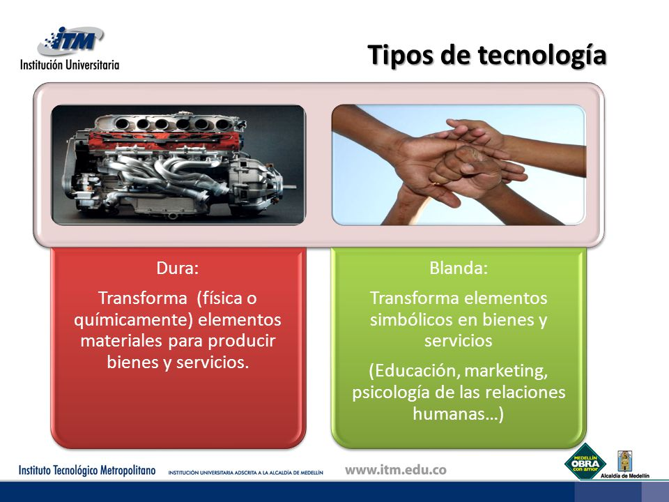 Tipos de tecnología Transforma (física o químicamente) elementos materiales para producir bienes y servicios.