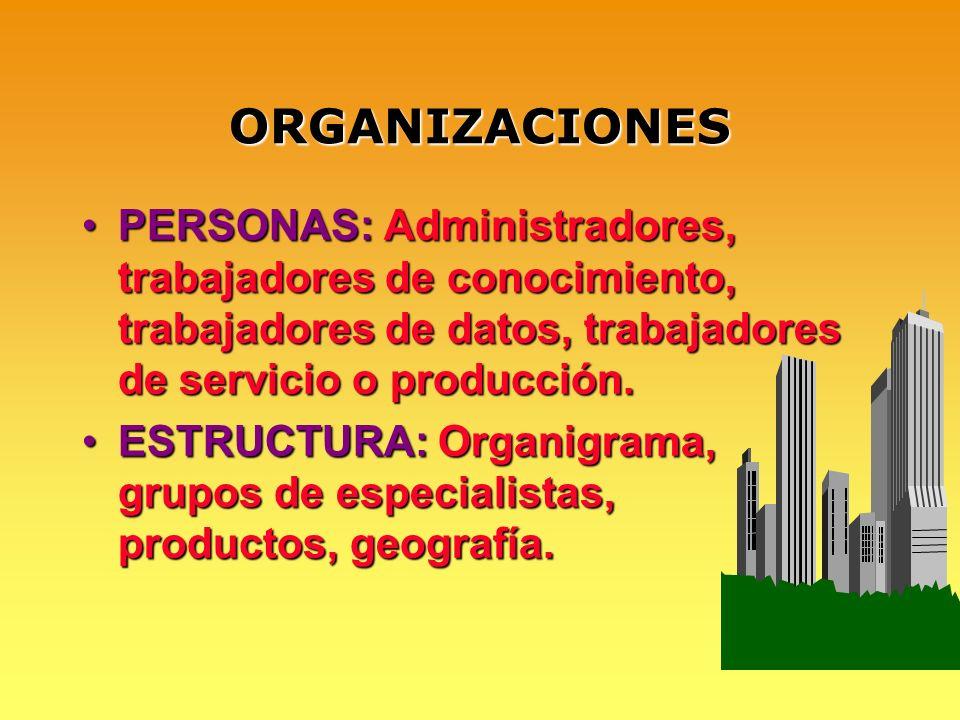 ORGANIZACIONES PERSONAS: Administradores, trabajadores de conocimiento, trabajadores de datos, trabajadores de servicio o producción.