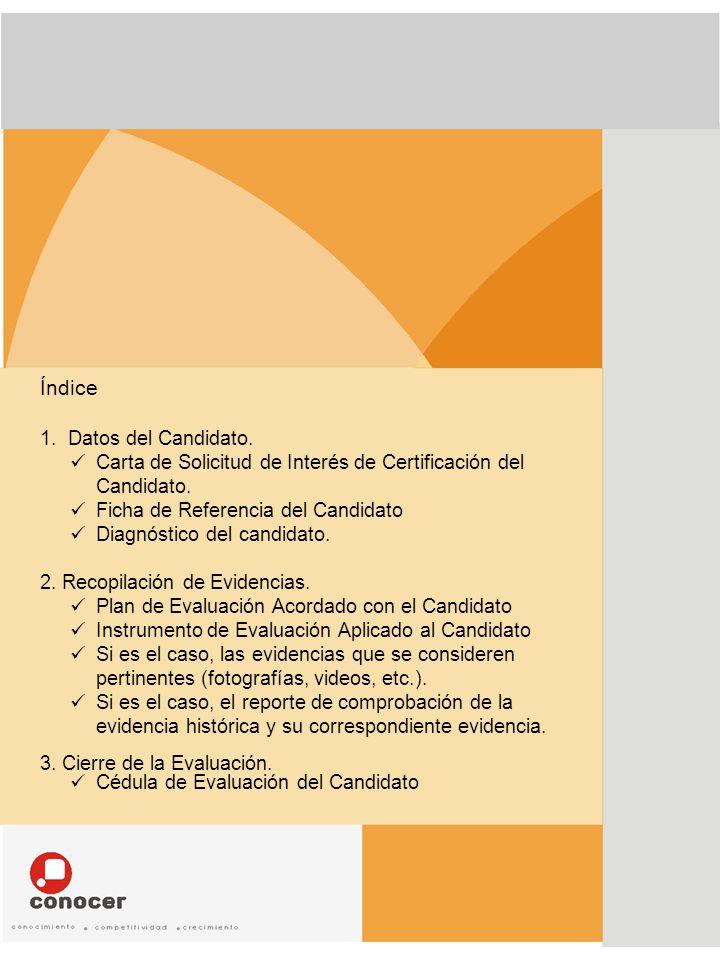 Índice Datos del Candidato.