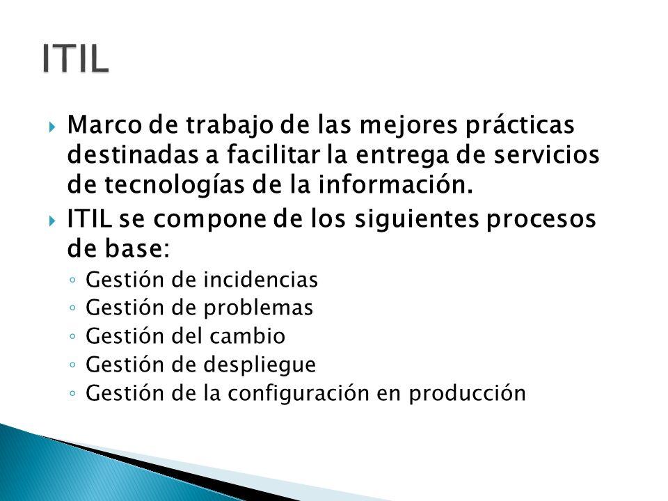ITIL Marco de trabajo de las mejores prácticas destinadas a facilitar la entrega de servicios de tecnologías de la información.