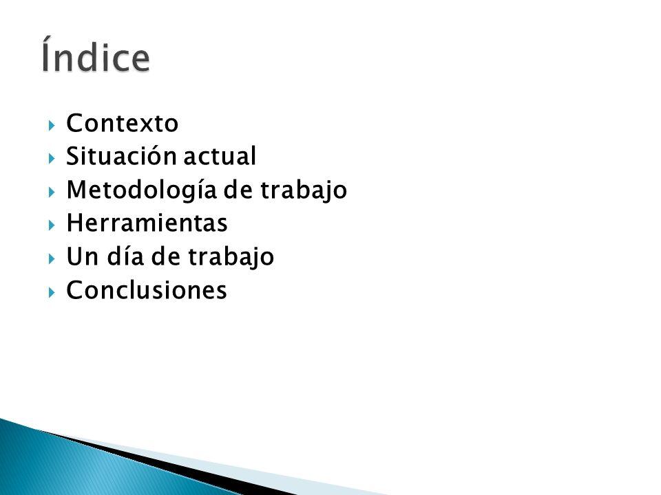 Índice Contexto Situación actual Metodología de trabajo Herramientas