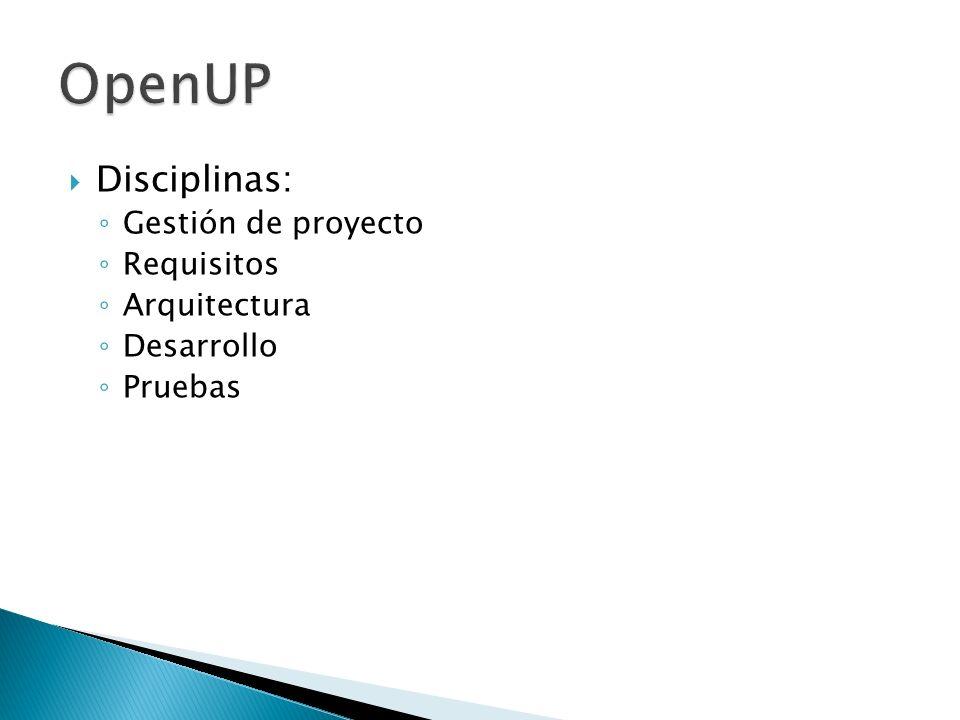OpenUP Disciplinas: Gestión de proyecto Requisitos Arquitectura