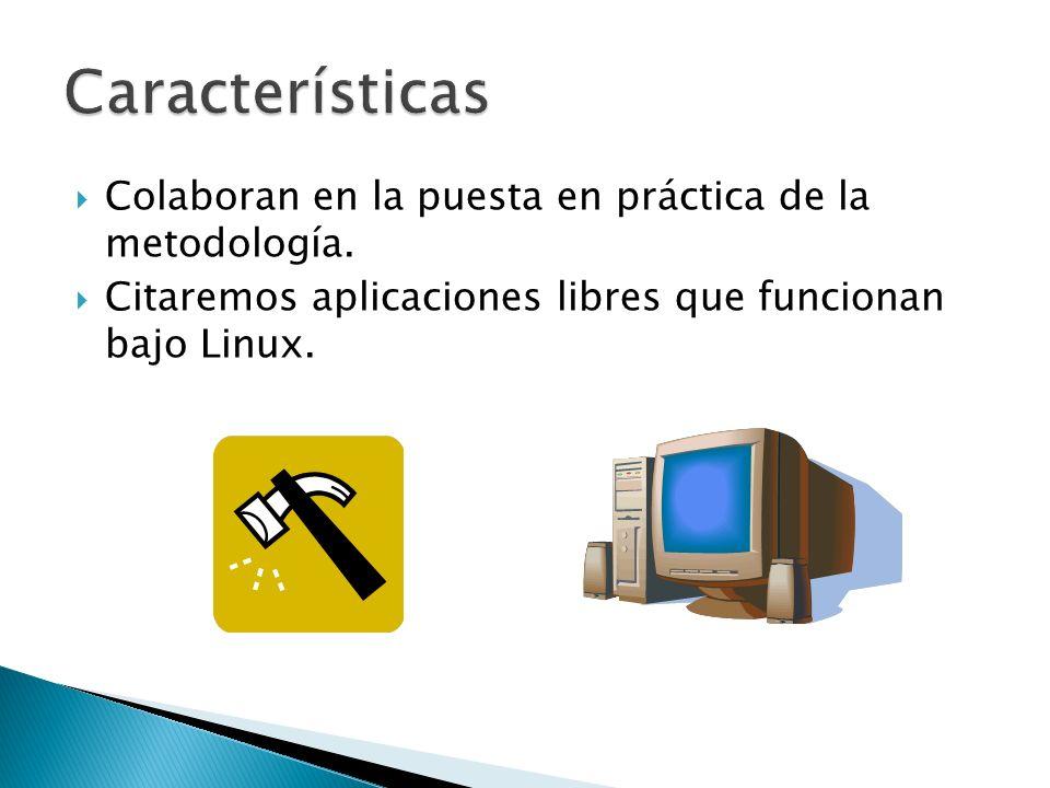 Características Colaboran en la puesta en práctica de la metodología.
