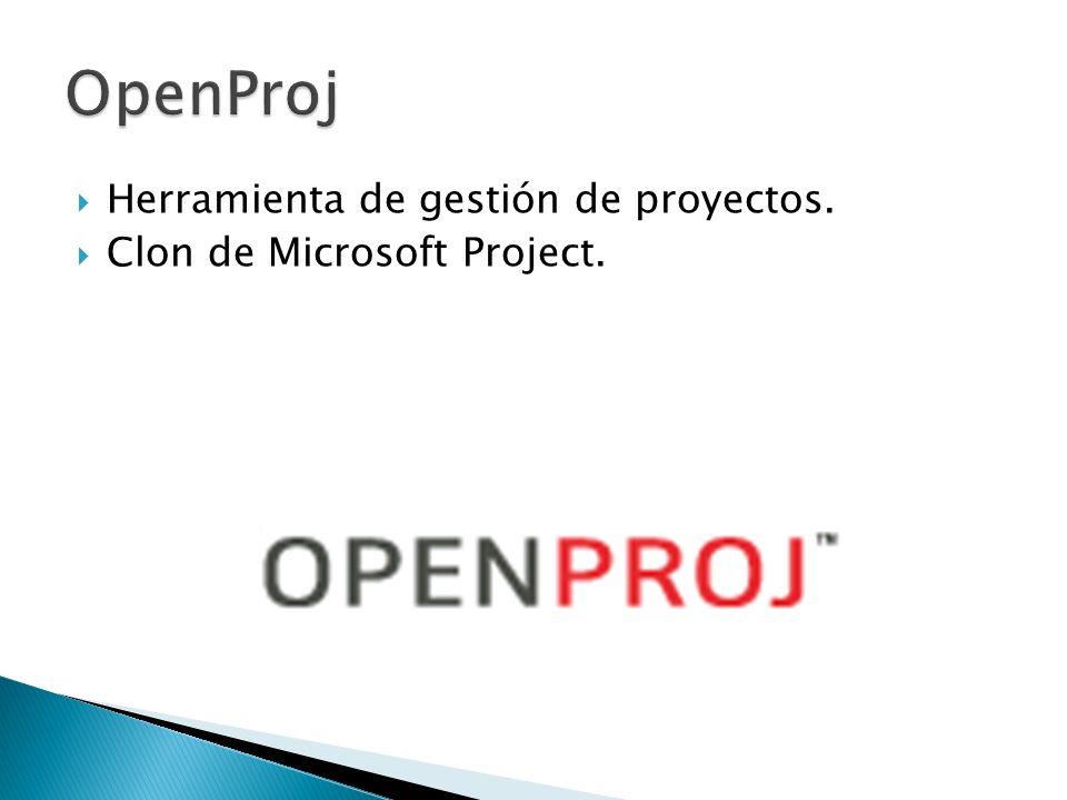 OpenProj Herramienta de gestión de proyectos.