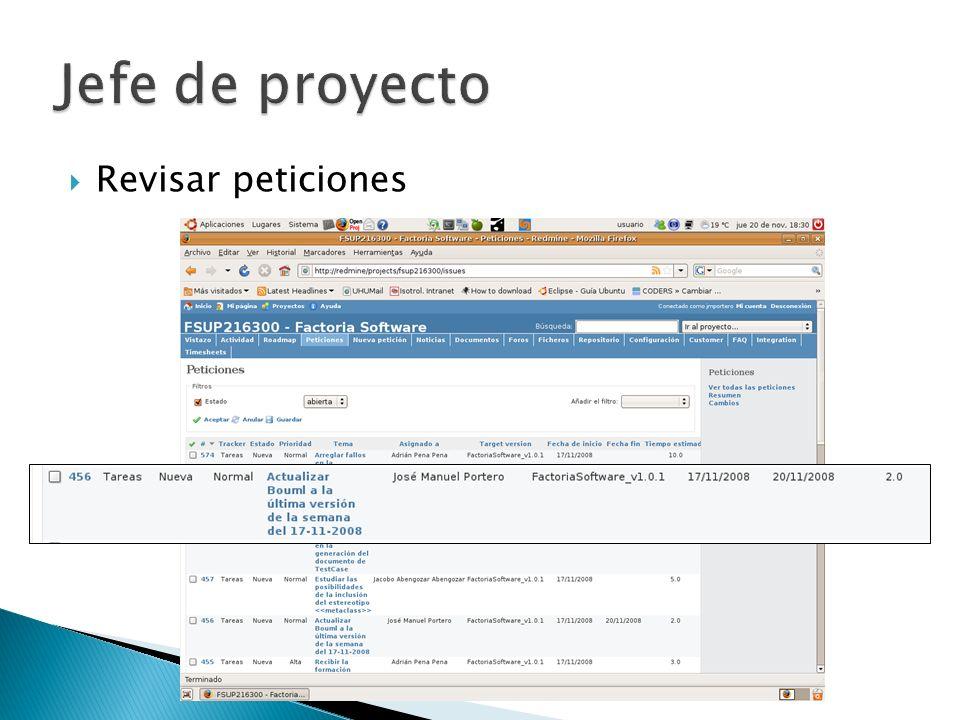 Jefe de proyecto Revisar peticiones