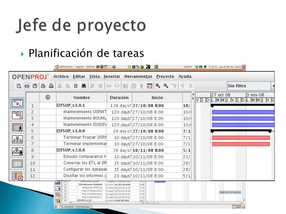 Jefe de proyecto Planificación de tareas
