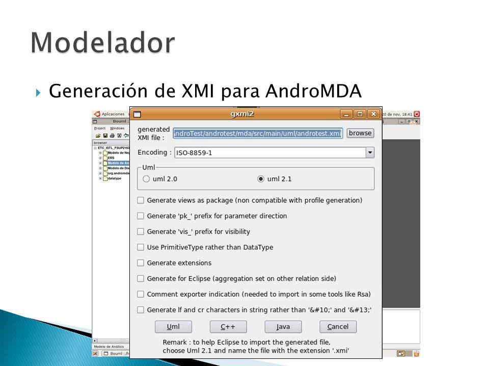 Modelador Generación de XMI para AndroMDA