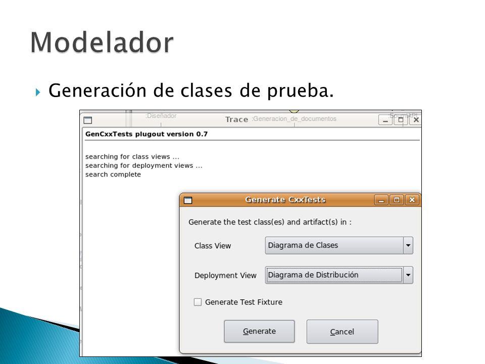 Modelador Generación de clases de prueba.